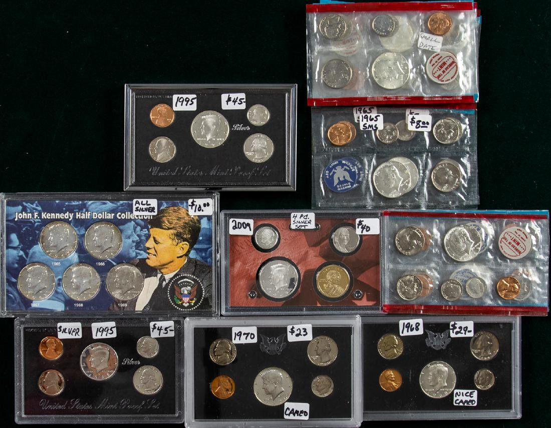 12 1965 - 2009 KENNEDY & ASSORTED PROOF SETS