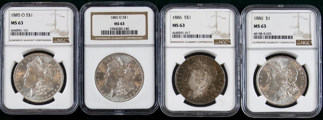 4 - 1885 - 1886 MORGAN SILVER DOLLARS $1