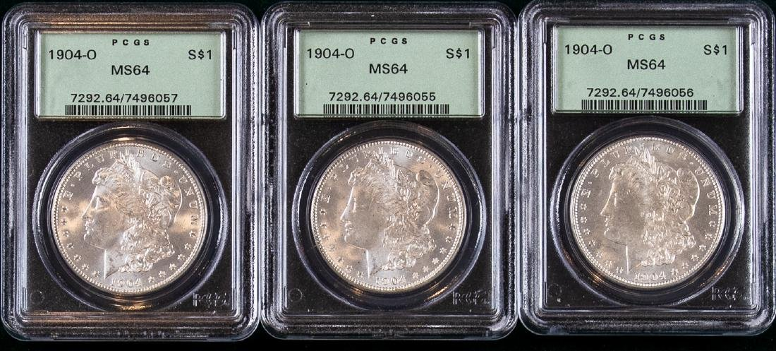 3 - 1904 O MORGAN SILVER DOLLARS $1