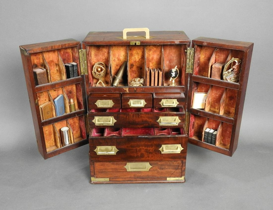 ANTIQUE ENGLISH CAMPAIGN APOTHECARY BOX