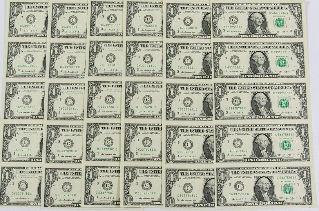 6 - 2013 UNCUT $1 ONE DOLLAR FEDERAL RESERVE NOTES