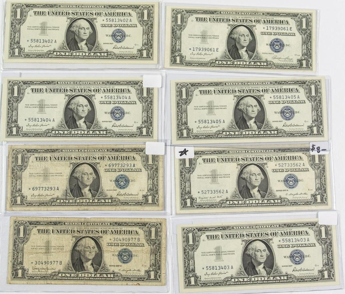 8 - $1 ONE DOLLAR SILVER CERTIFICATE STAR NOTES