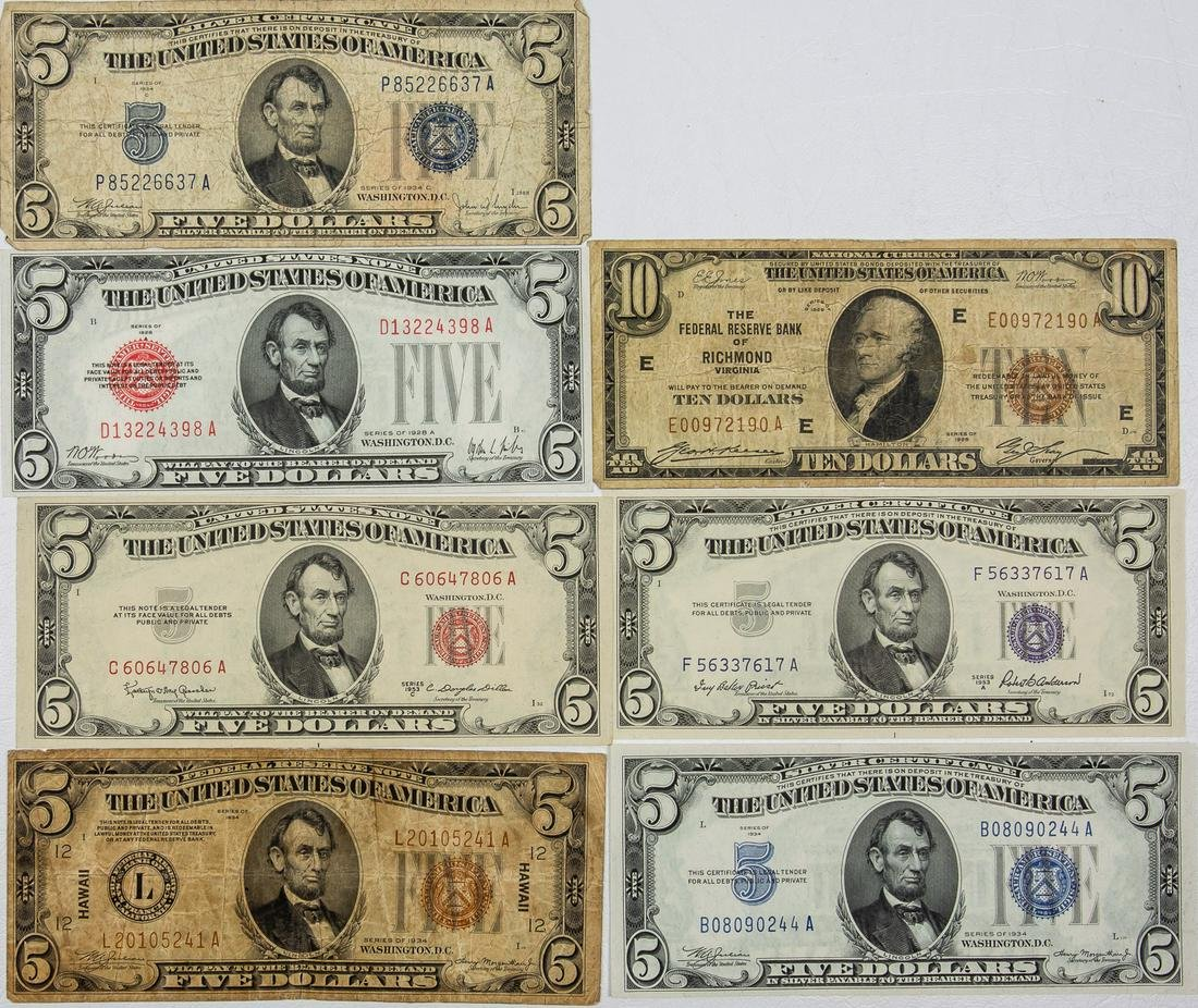 $10 TEN DOLLAR & 6 - $5 FIVE DOLLAR NATIONAL CURRENCY,