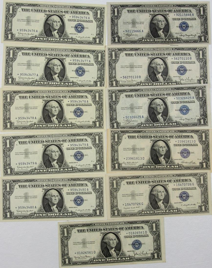 11 - $1 ONE DOLLAR SILVER CERTIFICATE STAR NOTES