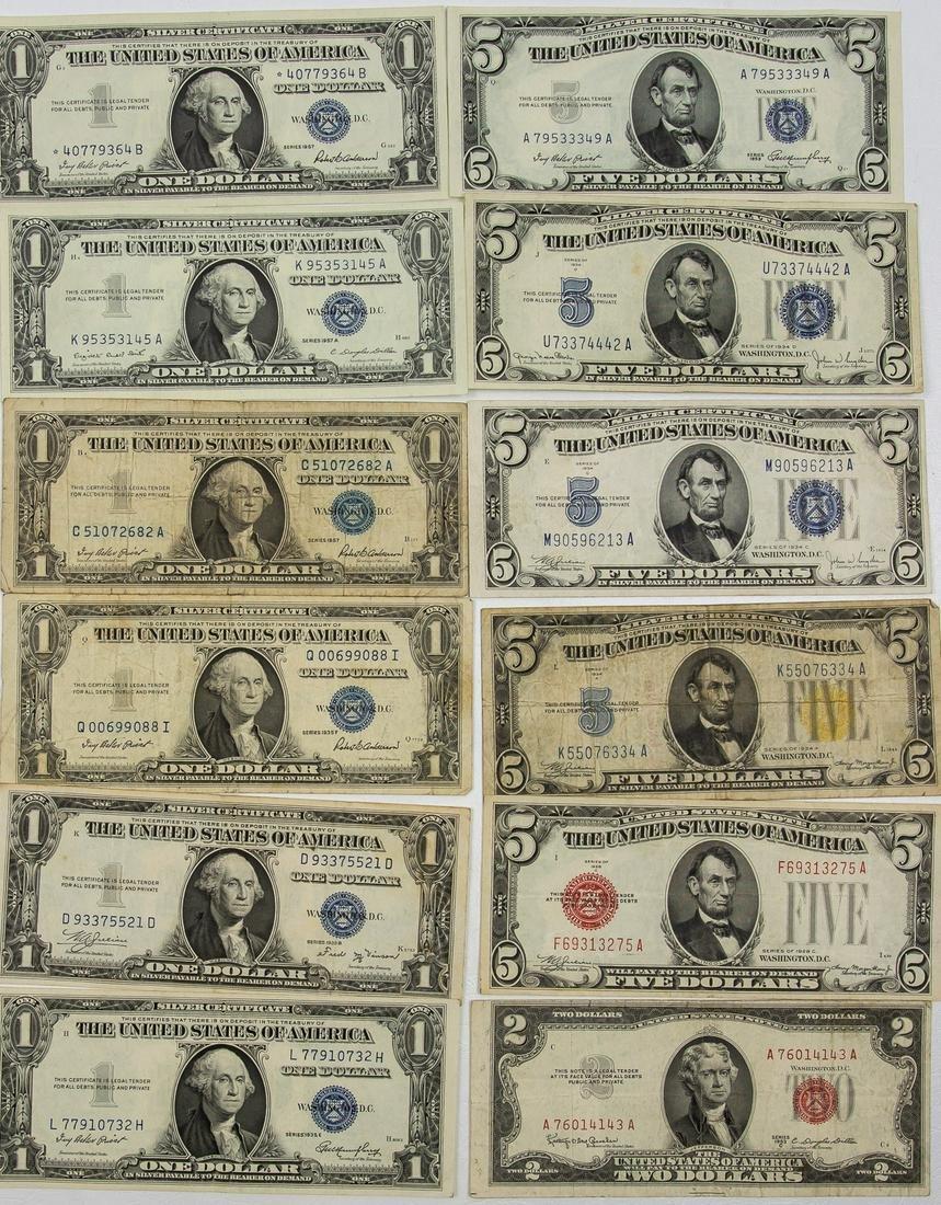 12 - $1 ONE DOLLAR, $2 TWO DOLLAR & $5 FIVE DOLLAR