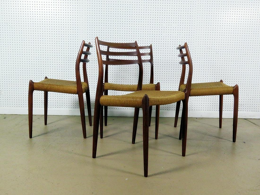 4 J. L. MOLLER DANISH TEAK SIDE CHAIRS