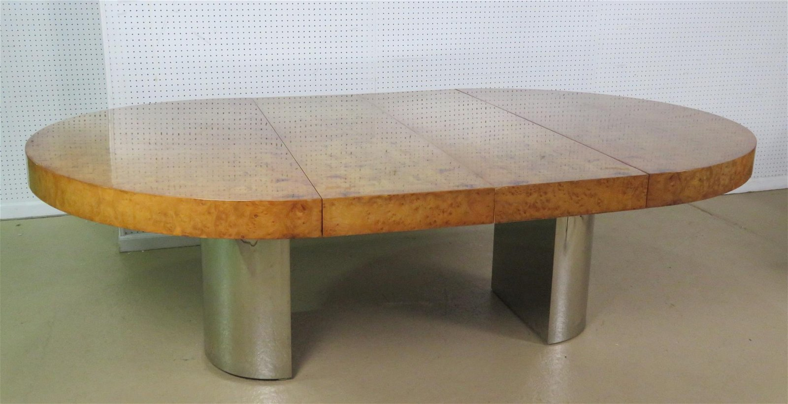 BURL WALNUT & CHROME DINING TABLE attr PACE COLLECTION