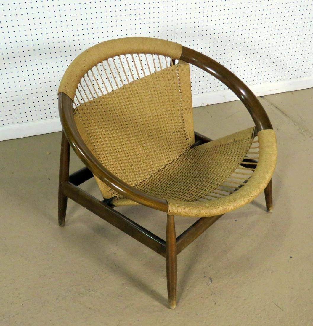 HANS WEGNER STYLE WOOD AND ROPE CHAIR