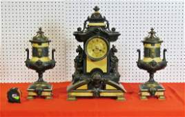 3 PC VICTORIAN BRONZE  MARBLE CLOCK SET WITH GRIFFINS