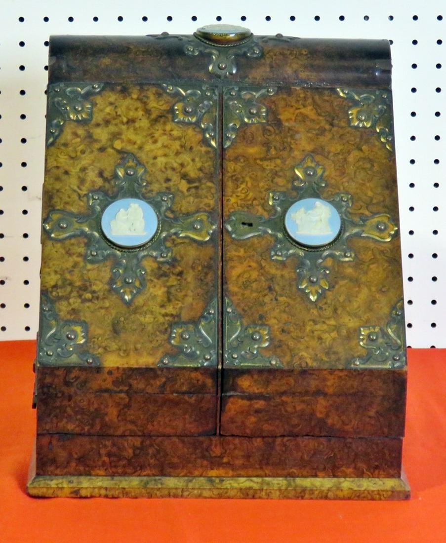 VICTORIAN BURL WALNUT FILE BOX MARKED TIFFANY