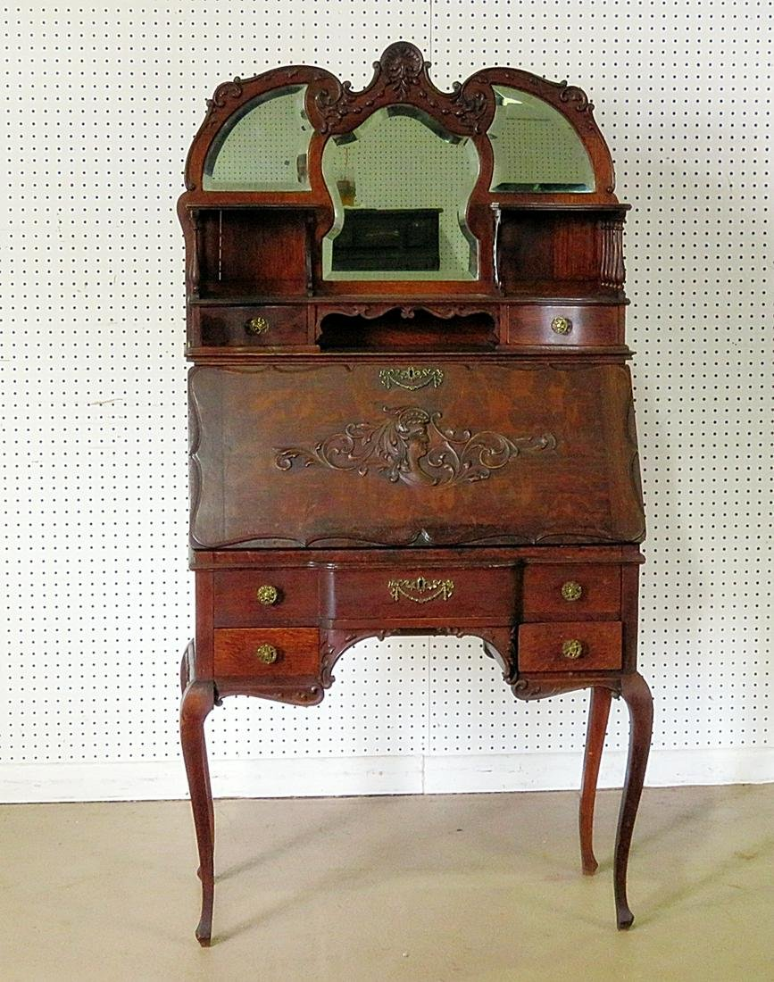 ANTIQUE OAK CARVED SECRETARY DESK