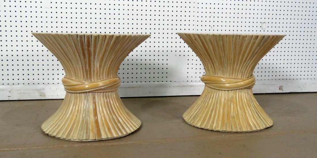 PAIR HOLLYWOOD REGENCY STYLE TABOURET STANDS