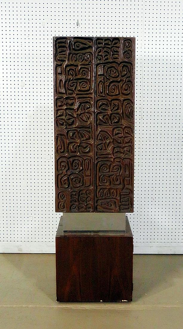 PAUL EVANS STYLE CARVED WOOD STANDING LIQUOR CABINET