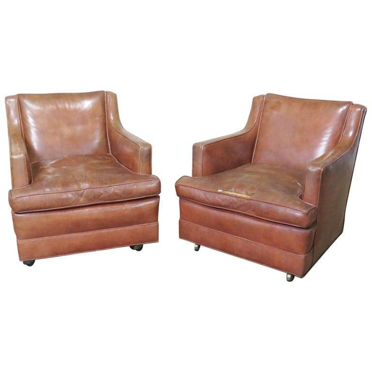 PAIR MID CENTURY MODERN LEATHER CLUB CHAIRS