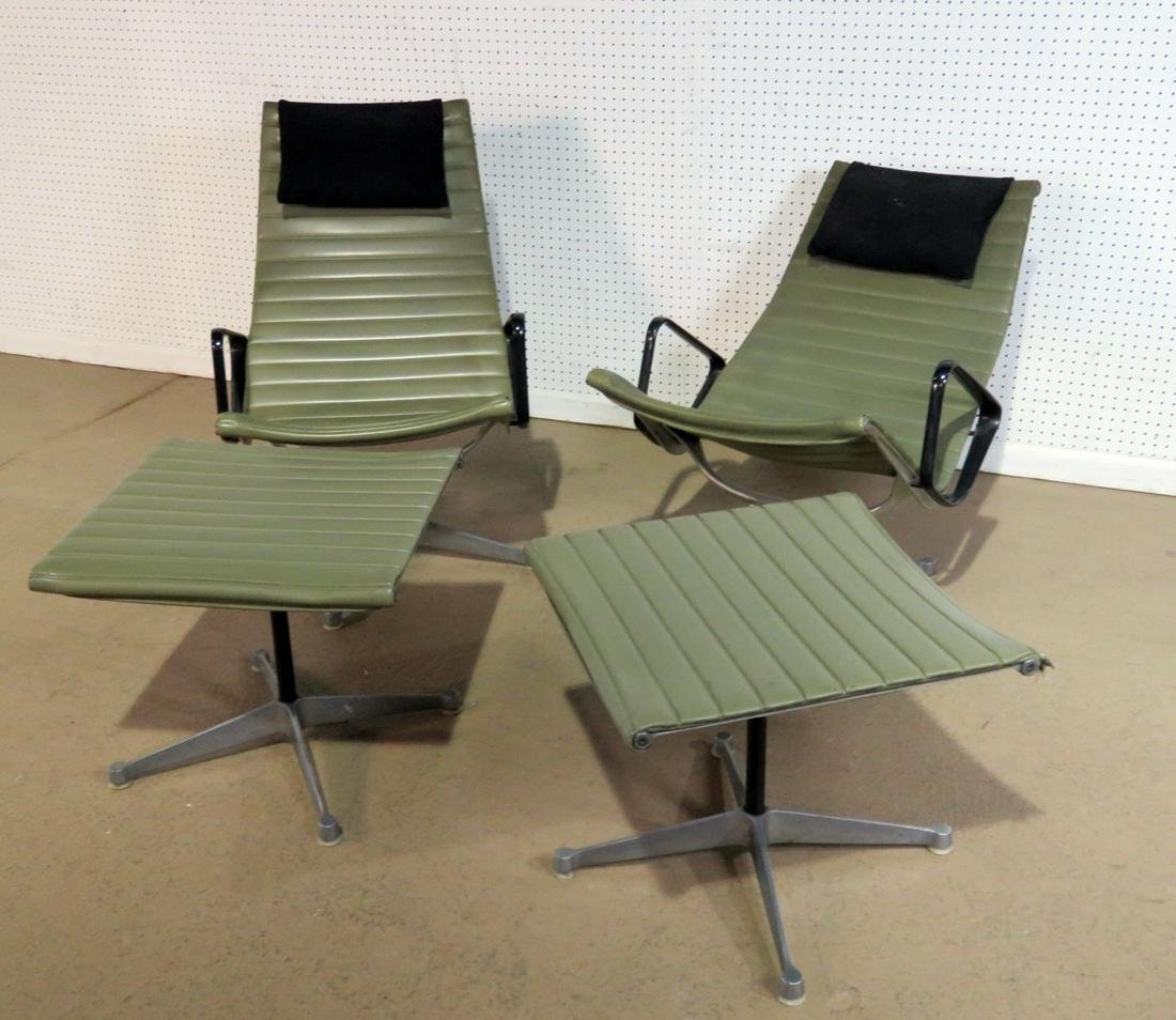 PAIR HERMAN MILLER LOUNGE CHAIRS WITH OTTOMANS