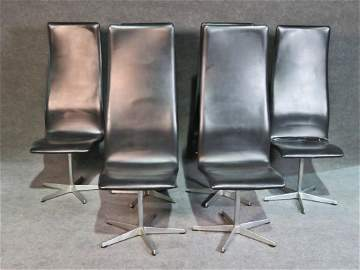 6 SIGNED FRITZ HANSEN HIGH BACK CHAIRS