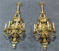 PAIR BRASS FIGURAL CANDLEABRA SCONCES
