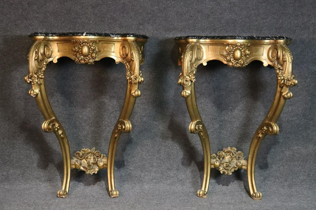 SINATRA SUITE- PAIR LOUIS XV STYLE MARBLE TOP CONSOLES