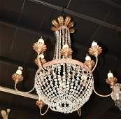 FRENCH EMPIRE STYLE 12 LIGHT CRYSTAL BASKET CHANDELIER