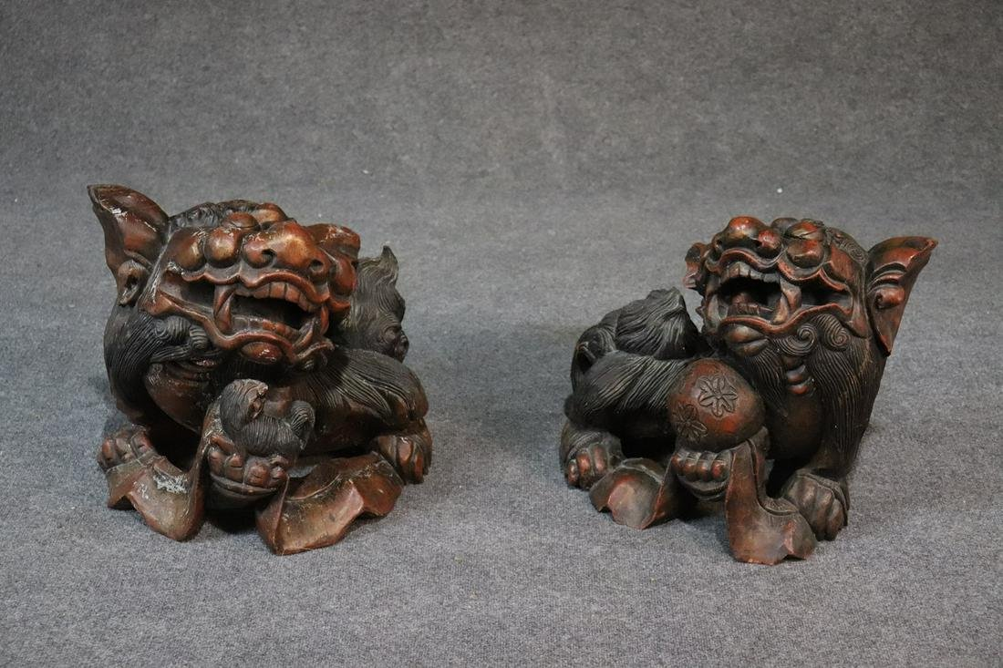 PAIR LARGE ANTIQUE ASIAN FOO DOGS