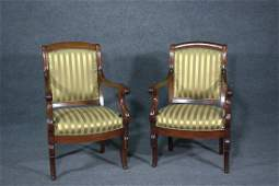 PAIR 19thC FRENCH EMPIRE ARM CHAIRS