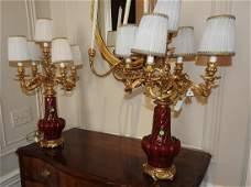 PAIR SANG DE BOEUF STYLE BRONZE LAMPS