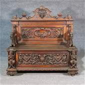 HORNER STYLE CARVED GRIFFIN HALL BENCH