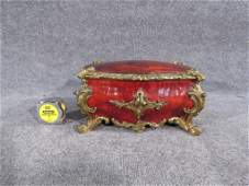 TORTOISESHELL & BRONZE MOUNTED JEWELRY CASKET