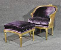 LOUIS XVI STYLE GILT CHAIR  OTTOMAN