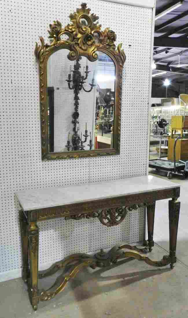 MARBLE TOP CONSOLE & MIRROR