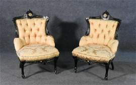 PAIR EBONIZED VICTORIAN SIDE CHAIRS BY POTTIER  STYMUS