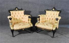 PAIR EBONIZED VICTORIAN ARM CHAIRS BY POTTIER  STYMUS