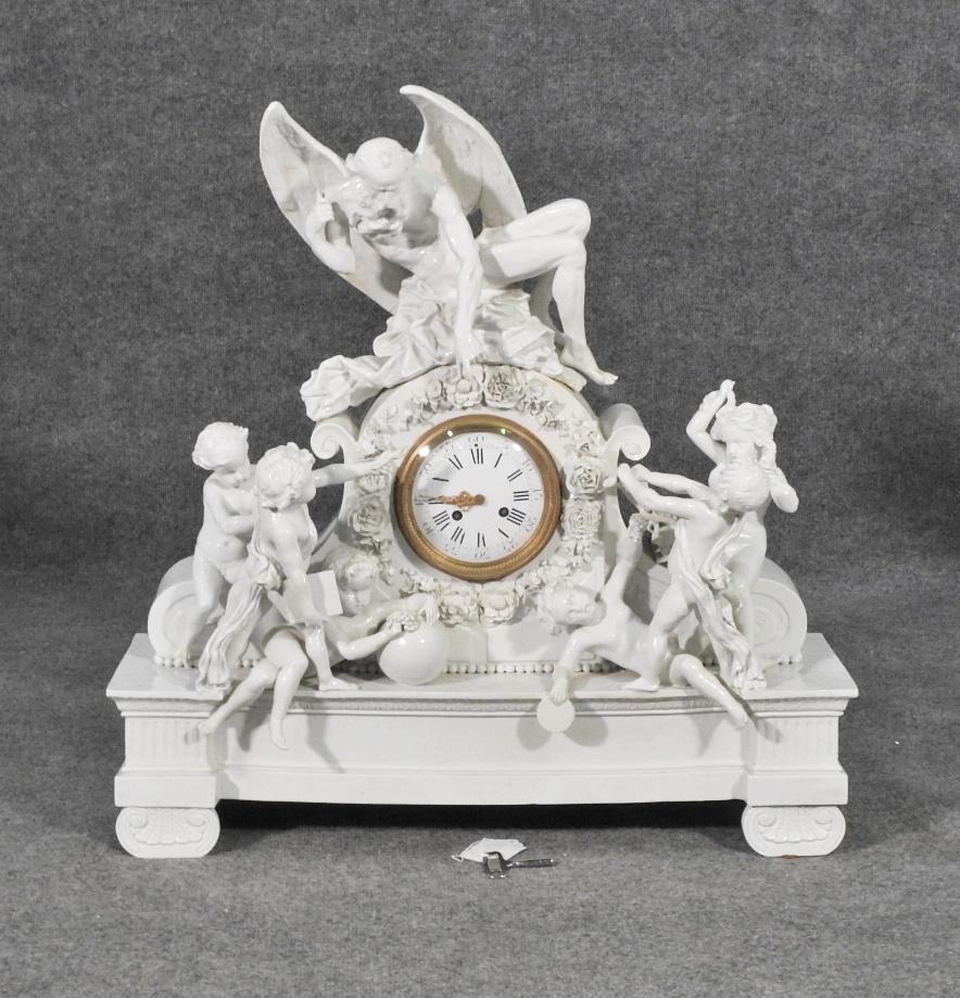 GERMAN PORCELAIN FIGURAL CLOCK