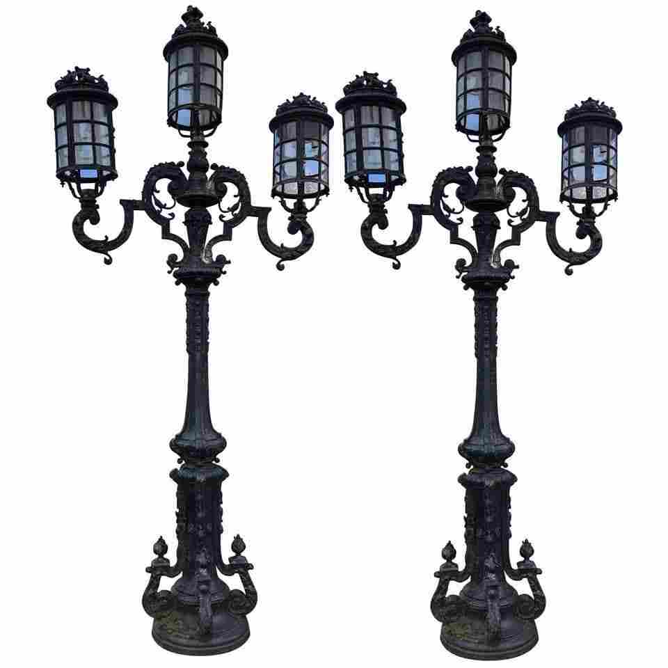 MONUMENTAL PR CAST IRON VICTORIAN STREET LAMPS