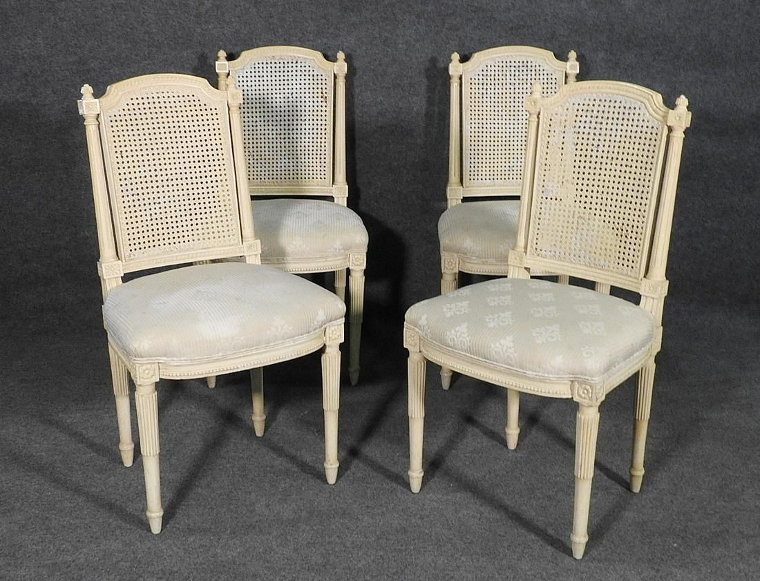 4 LOUIS XVI STYLE CANE BACK CHAIRS