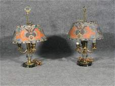 PAIR of SIGNED PAIRPOINT LAMPS ON MARBLE BASE