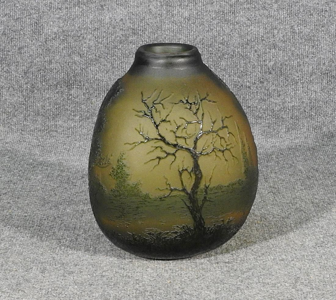 GALLE' FROSTED GLASS FLOWER VASE WITH FOREST SCENE