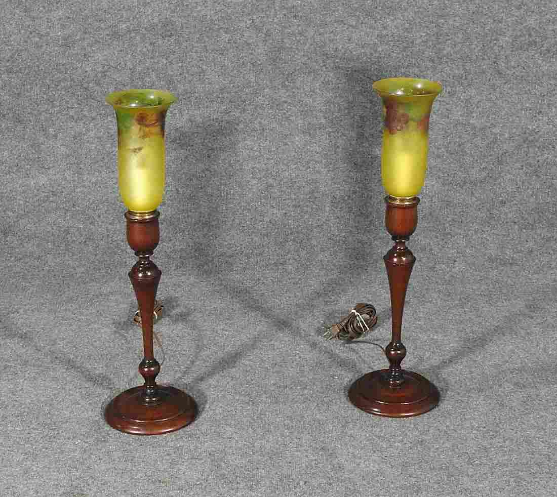 PAIR PAIRPOINT WALNUT LAMPS WITH FROST GLASS SHADE