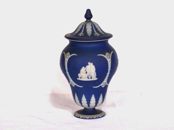 """6: WEDGWOOD BLUE DIP JASPER 12"""" COVERED JAR"""