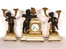 172 3 pc CLODION FIGURAL BRONZE CLOCK SET