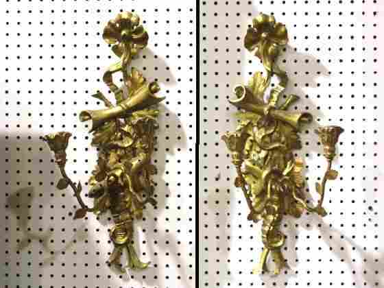 "180: Pr. 22"" ITALIAN CARVED GILT WOOD SCONCES"