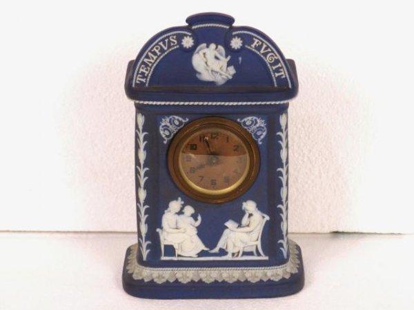 18: WEDGWOOD BLUE DIP JASPER CLOCK TEMPUS FUGIT