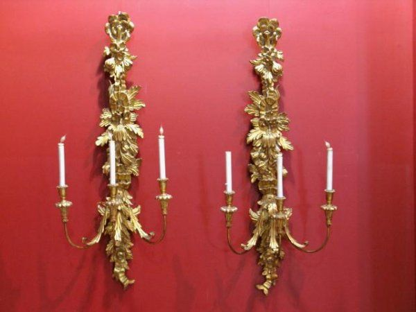 "305: Pr. 45"" PALLADIO ITALIAN GILT WOOD SCONCES"