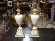 Pr. ITALIAN PAINTED & GILT WOOD LAMPS