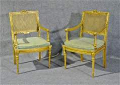 PAIR LOUIS XVI STYLE CANE BACK ARM CHAIRS