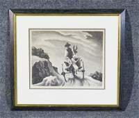SIGNED THOMAS HART BENTON PRINT GOIN HOME