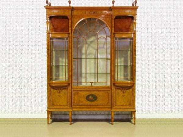 100: ADAMS STYLE INLAID SATINWOOD CHINA CABINET