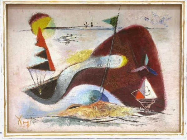 "9: OTTO SAMMER ABSTRACT PAINTING ""AM MEER"""
