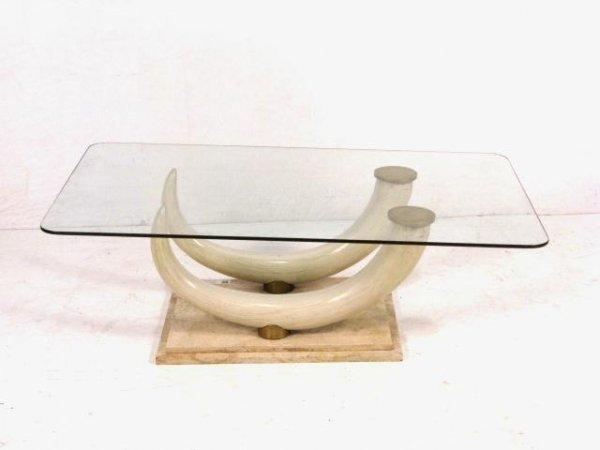 JANSEN FAUX ELEPHANT TUSK COFFEE TABLE