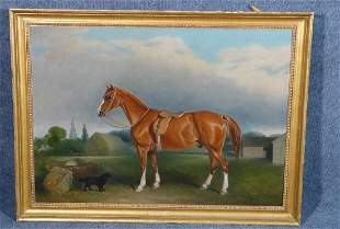 J E FERNELEY SR. OIL PAINTING CHESTNUT HUNTER